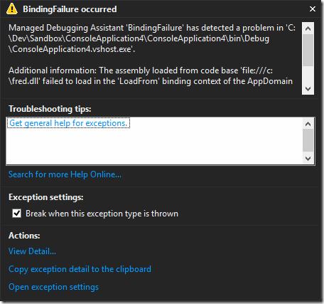 BindingFailure Managed Debug Assistant dialog