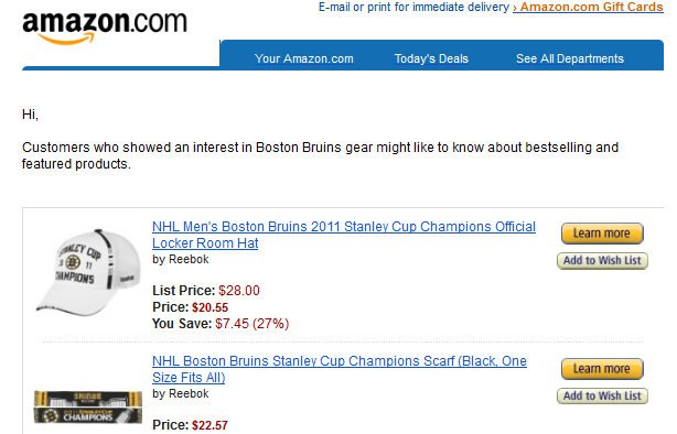 Amazon Boston Bruins jersey fail