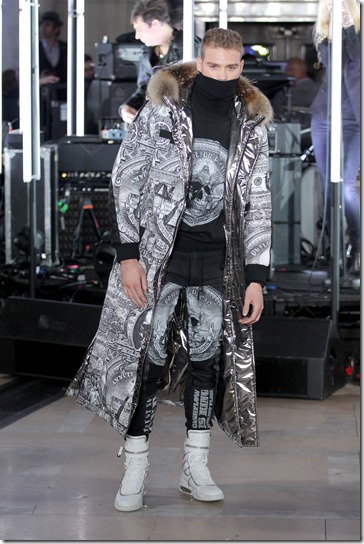 NEW YORK, NY - FEBRUARY 13:  A model walks the runway wearing look # 35 for the Philipp Plein Fall/Winter 2017/2018 Women's And Men's Fashion Show at The New York Public Library on February 13, 2017 in New York City.  (Photo by Thomas Concordia/Getty Images for Philipp Plein)