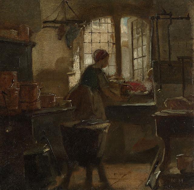 Matthijs Maris - Interieur van een keuken, bij het venster is een vrouw aan het werk. Op de voorgrond een hakblok, links staan pannen op het fornuis