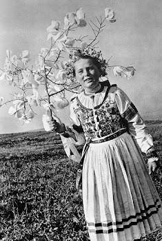 meisje in klederdracht met tak bloeiende bloemen in open veld