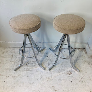 Mid-Century Steel Stool Pair #2