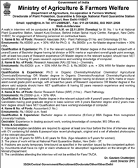 Ministry of Agriculture and Farmers Welfare Jobs 2016