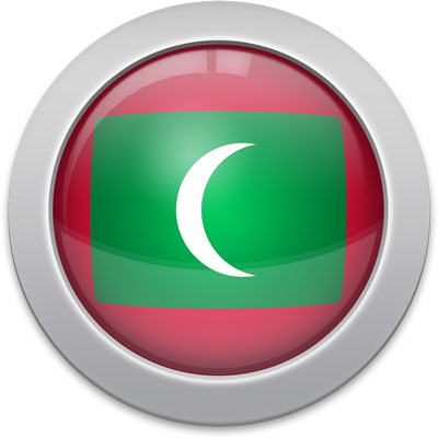 Maldivian flag icon with a silver frame