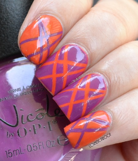 Orange and Purple Tape Manicure Nail Art (2)