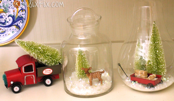 Bottle brush tree vignettes inside jars
