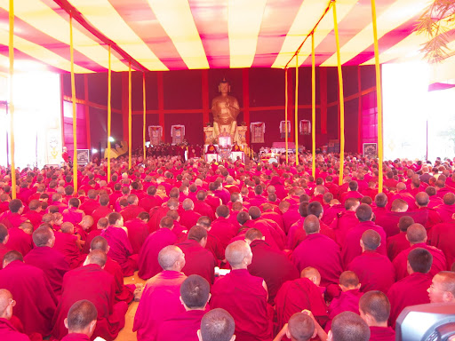 Monks from Sera Je Monastery during long life puja offered to Lama Zopa Rinpoche, Bodh Gaya, India, January 2012.