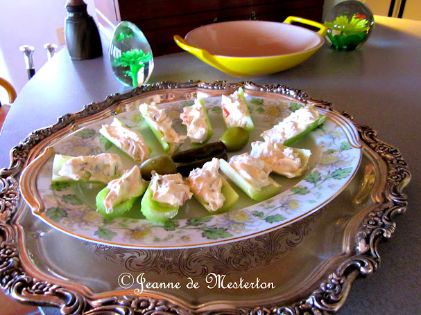 For an uncomplicated appetiser, fill celery with a mixture of cream cheese, mayonnaise, chopped olives and perhaps some minced hot peppers. ©M-Jeanne de Mesterton
