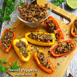 Sweet Peppers Stuffed With Garam Masala Spiced Grillers.