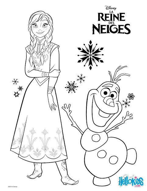 Elsa Frozen  Anna And Olaf Coloring Page