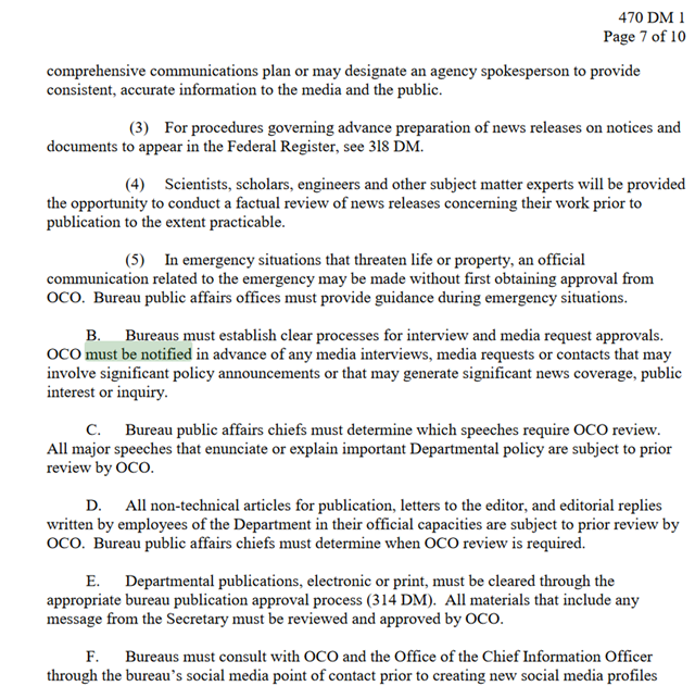 Screenshot of a U.S. Department of Interior policy 'Departmental Manual', that requires USGS scientists to get permission before speaking to reporters about science. Graphic: U.S. Department of the Interior