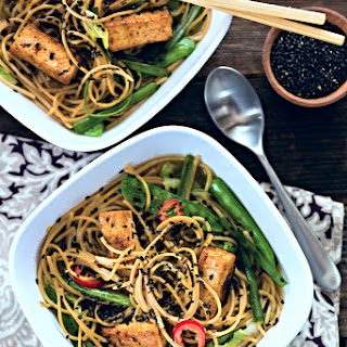 Southwest Soba Noodle Bowl with Ginger Jalapeño Broth (Vegan).