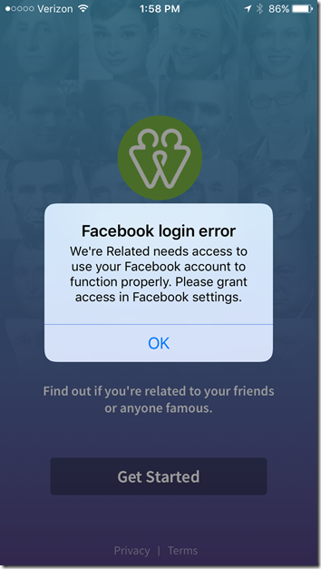 We're Related - Facebook login error
