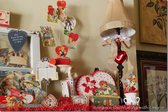 Bargain Decorating with Laurie-Valentines on the Mantel