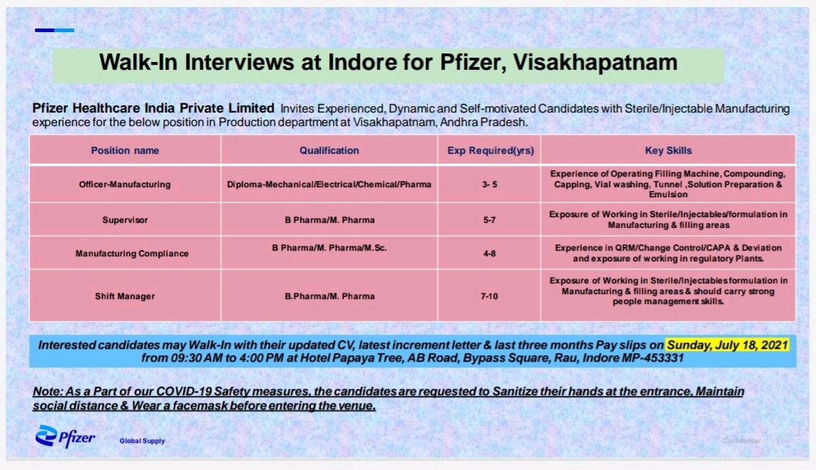 Walk-In By Pfizer For Multiple Opening In Production, Compliance