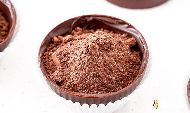 cocoa mix in a cocoa bomb
