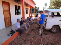 TV Reporter showed up on our doorstep earlier on the first morning we all arrived. From Left to right: Reporter, Cory VonAchen, Greg Ewing, Alistair Hayden, Chris Hannaford, Julie Bateman, Belazinha, Ethan Shirley