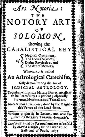 Ars Notoria The Notary Art Of Solomon by Solomonic Grimoires