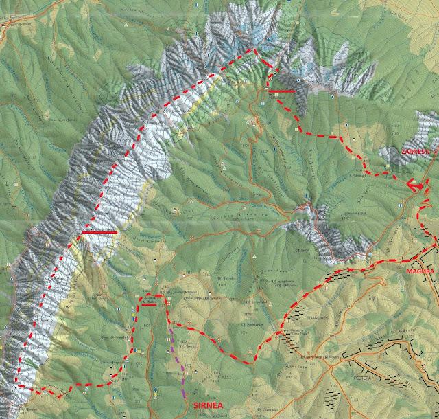fragment harta Muntii Piatra Craiului - parcurgerea crestei