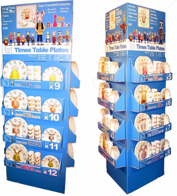 Times Table Plates retail stand