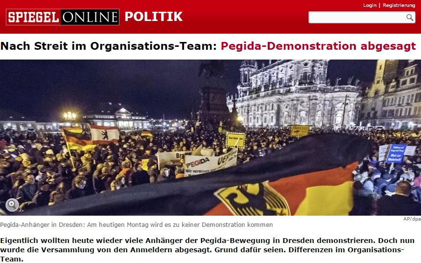 Spiegel-Online: Pegida-Demonstration abgesagt