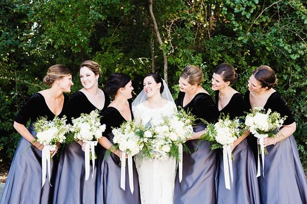 Black velvet bridesmaid dress tops