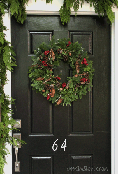 Natural real front door wreath for christmas