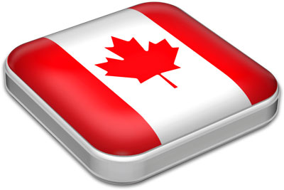 Flag of Canada with metallic square frame