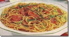 Spaghetti con salsa di pomodorini e gamberi