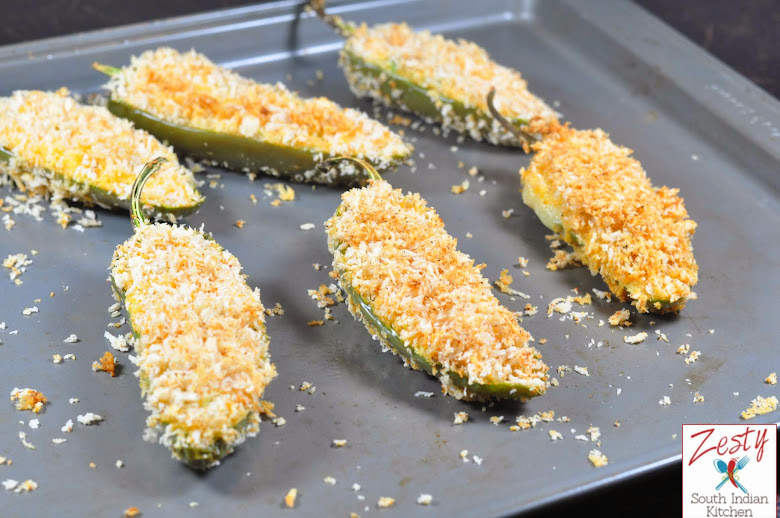 Jalapenos poppers with double cheese: Baked