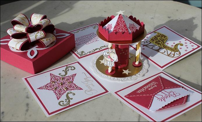 Explosion Box Weihnachten Christmas Gold Glitzer Karussell Stampin Up Zum Nachwuchs Weihnachtsschlitten 02