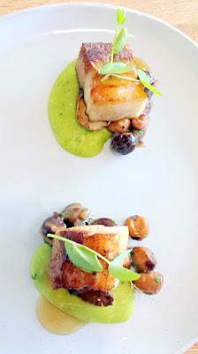 Willow PDX Fourth Course of Pork Belly with green grits, boiled hazelnuts, roasted shitake mushrooms, and charred onion jus on April 30, 2016