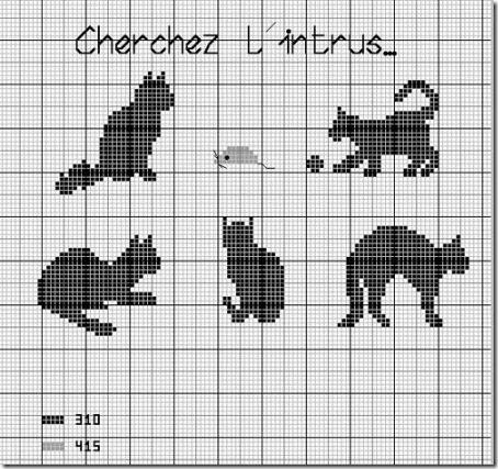 siluetas gatos punto de cruz monocromo  (31)