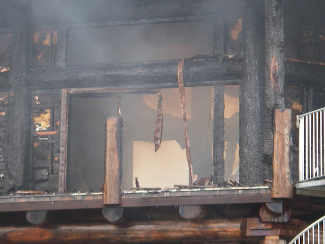 20 April 2012 -The scene of the devastating fire on Green Island. Photo: RNLI/Poole Lifeboat Station Anne Millman
