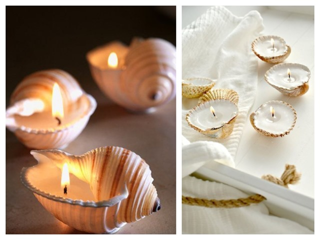 sea shell candles DIY
