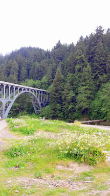At Heceta Head Lighthous Viewpoint, the view of Cape Creek Bridge. It uses a design that is similar to Roman stone aqueduct design (notice the two levels of arches and columns), but using modern materials.