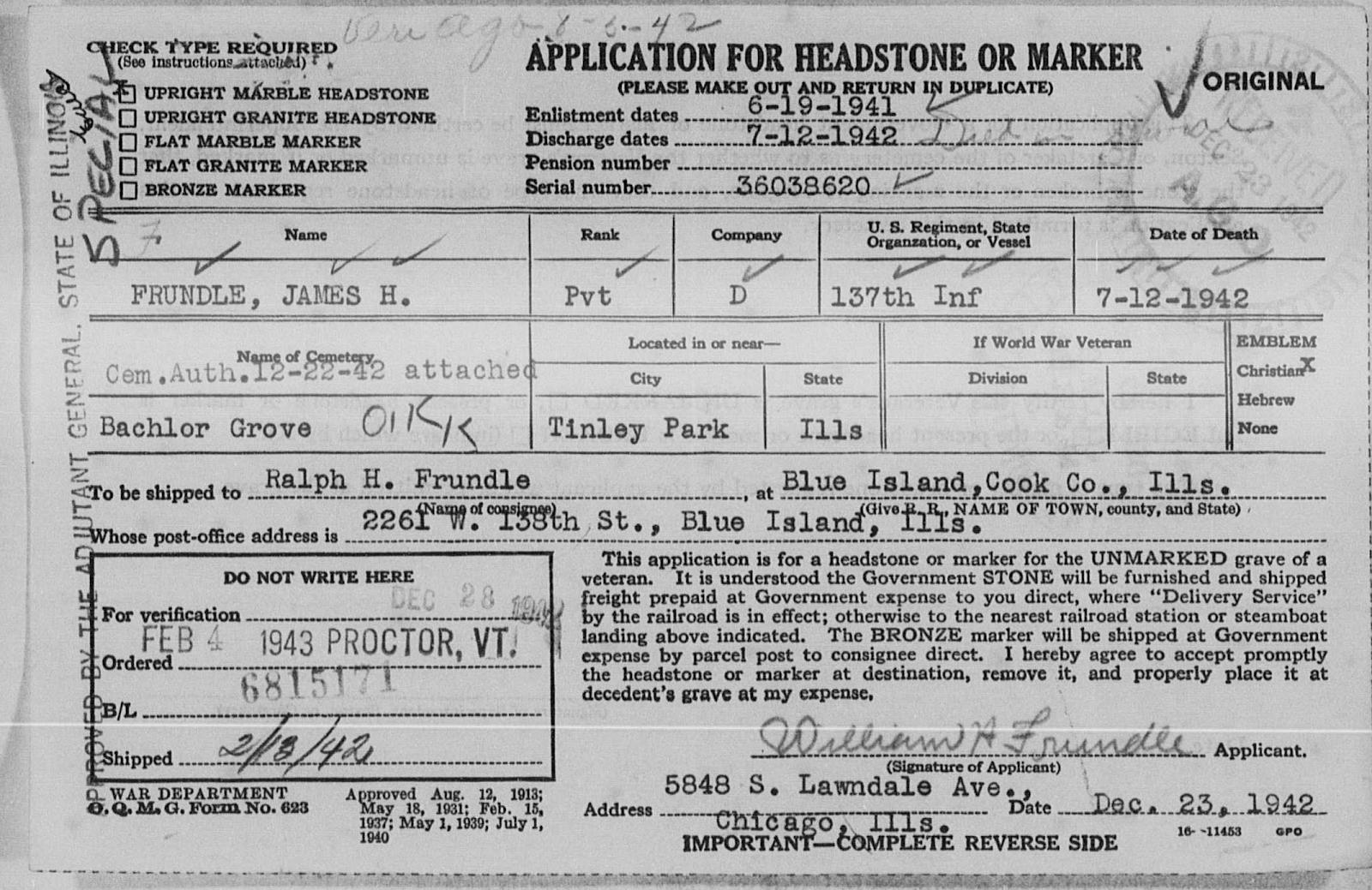 James H. Frundle  Headstone Application
