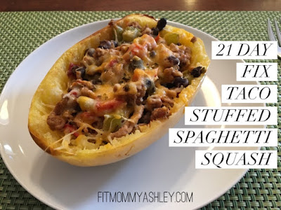 taco, stuffed, spaghetti squash, southwest, easy, 21 day fix, recipes, clean, healthy, cheese, beans, turkey
