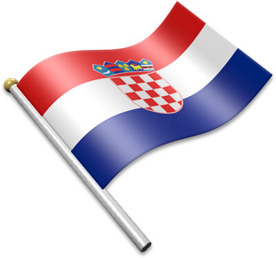 The Croatian flag on a flagpole clipart image