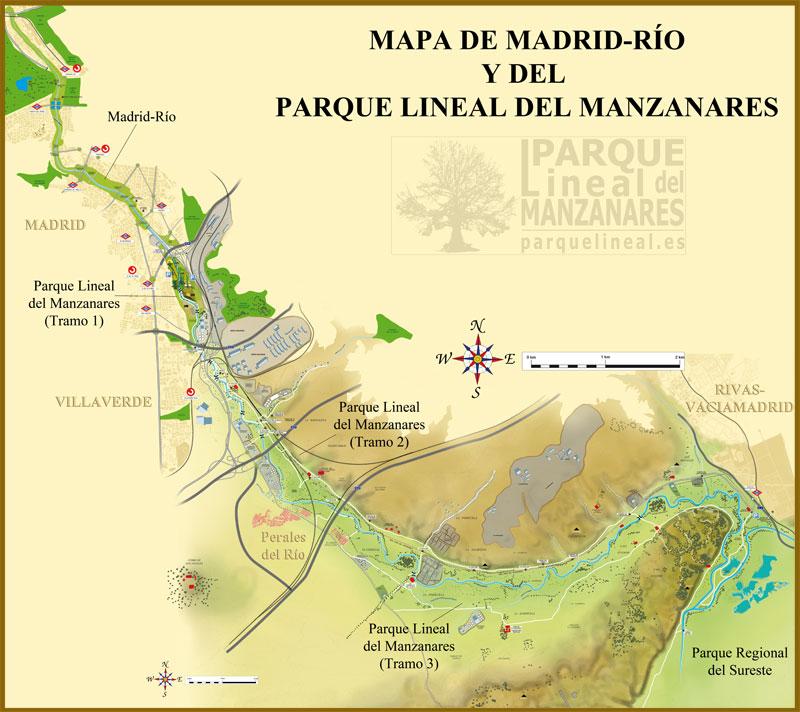 mapa del parque lineal del manzanares y de madrid río