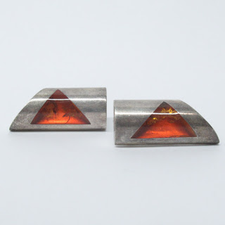 Modernist Sterling Silver & Amber Earrings