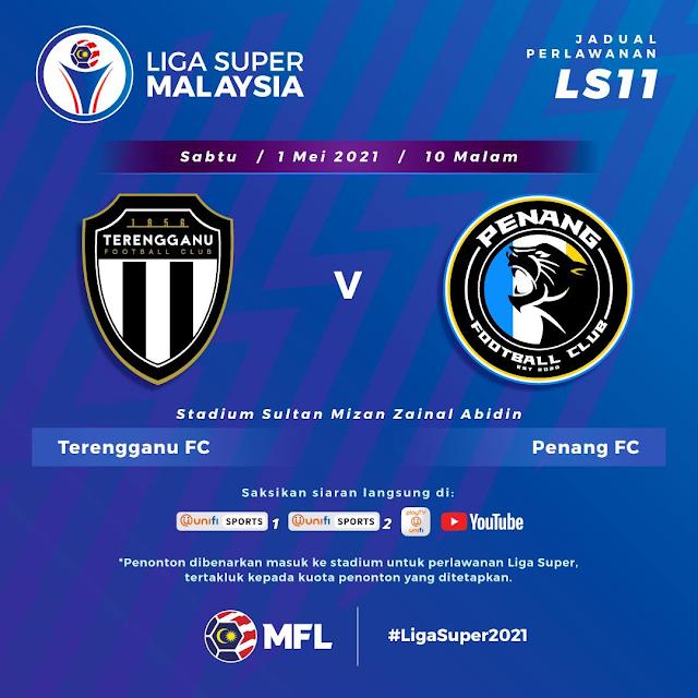 Live Streaming Terengganu vs Penang Liga Super 1.5.2021