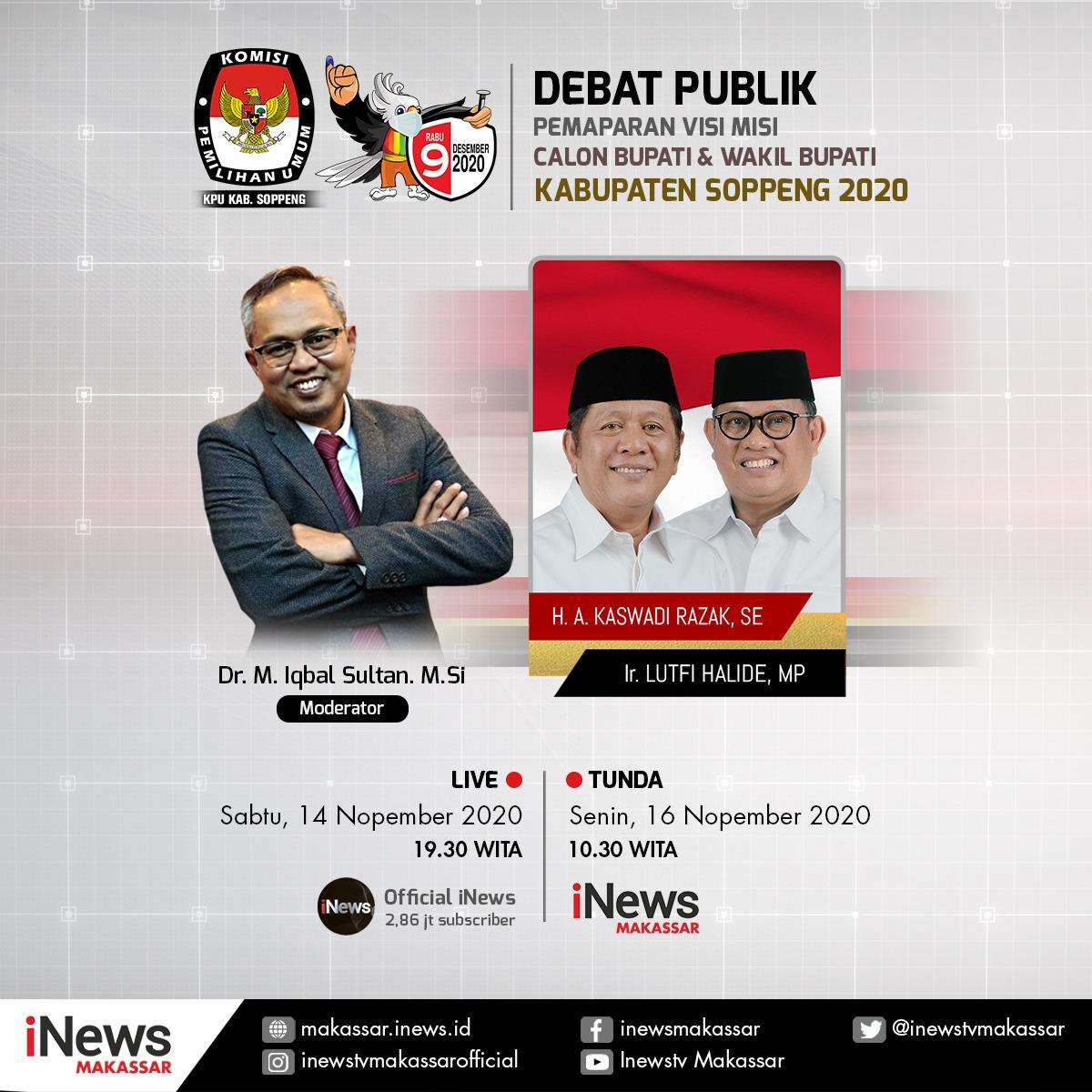 Mau Tahu Visi Misi Calon Bupati Soppeng, Saksikan Debat Publik di INews Makassar