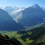 First Mountain view of the Eiger in Grindelwald, Bern, Switzerland
