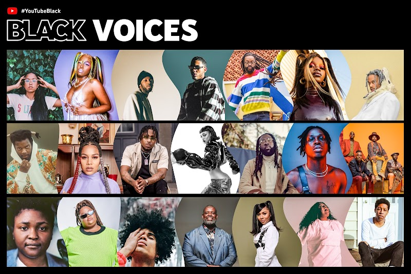 HashtagYouTubeBlack Voices Fund logo above grid of head shots of Black YouTube creators and artists.