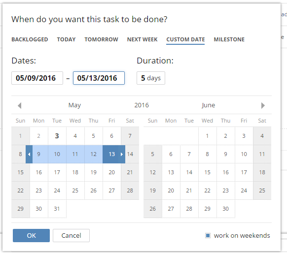 Wrike: task scheduling