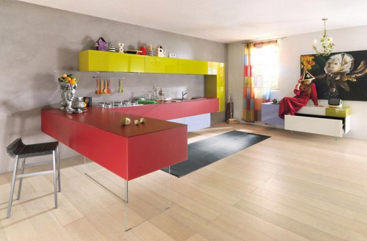 With cheerful color of the cabinets the kitchen will get much more funky  and stylish. If you like the idea of room with bright color, well this  kitchen ...