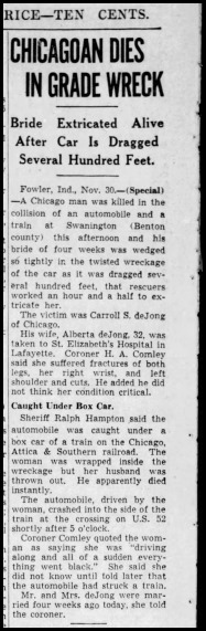 Indianapolis Star, 1 Dec 1940, Carroll and Alberta (Weber) DeJong