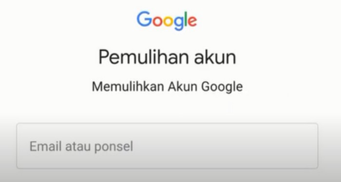 Buka link berikut ini : Pemulihan Akun Google