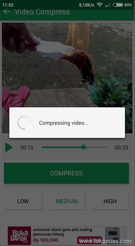 cara memperkecil file video android